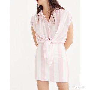 Madewell Gamine Skirt in Pink Cara Stripe